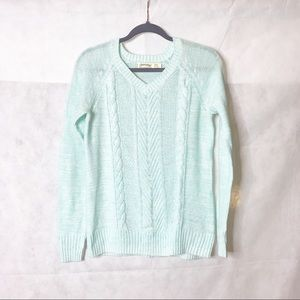 Faded Glory | Blue V-Neck Cable Sweater | S